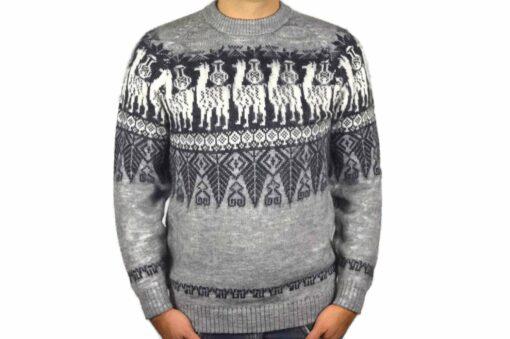 Alpaka Pullover Traditionell, grau