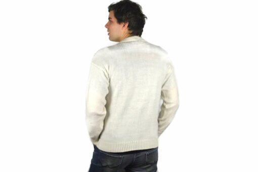 Alpaka Pullover Karo weiß-grau