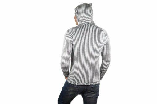 Alpaka Strickjacke Herren weiß-grau