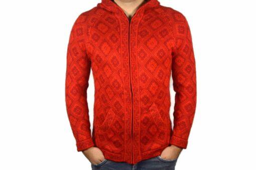 Alpaka Strickjacke Andenkreuz rot-rot