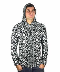 Alpaka Strickjacke Andenkreuz weiß-schwarz