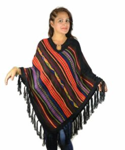 Babyalpaka Poncho schwarz-orange