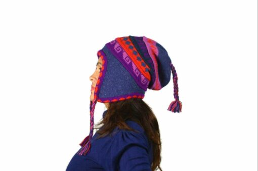 Chullo Mütze Inka violett - Variante 2