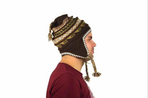 Chullo Mütze Inka dunkelbraun - Variante 3