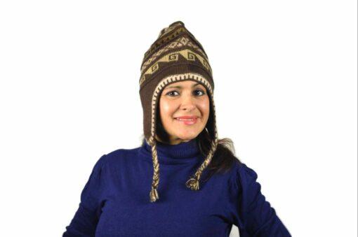 Chullo Mütze Inka dunkelbraun - Variante 1