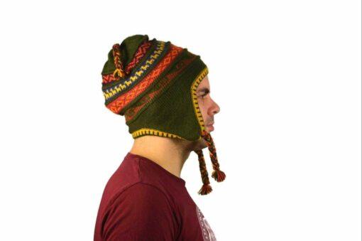 Chullo Mütze Inka olivgrün - Variante 4