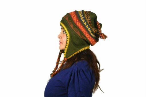 Chullo Mütze Inka olivgrün - Variante 1