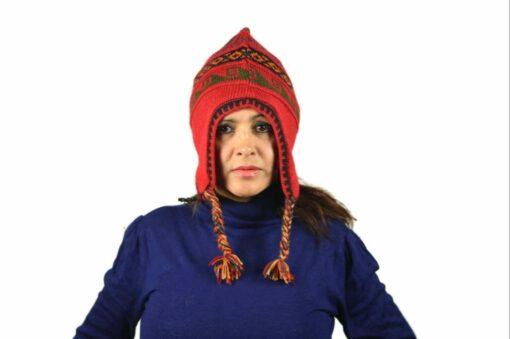 Chullo Mütze Inka rot - Variante 2