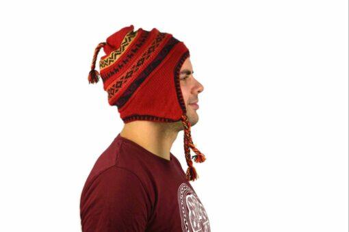 Chullo Mütze Inka rot - Variante 3