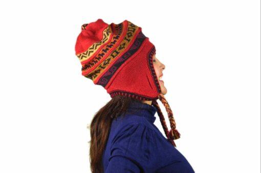 Chullo Mütze Inka rot - Variante 1