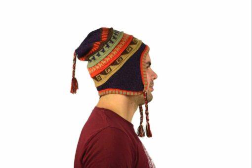Chullo Mütze Inka dunkelviolett - Variante 3