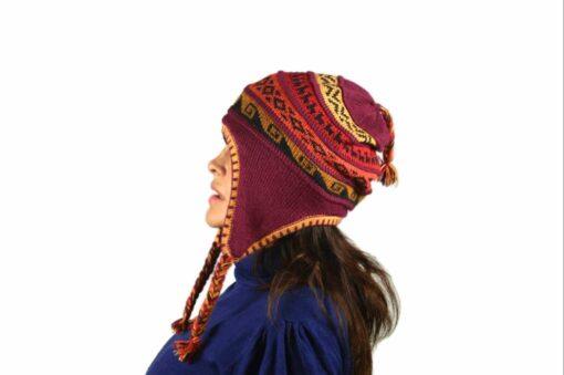 Chullo Mütze Inka weinrot - Variante 2