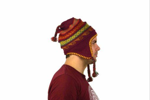 Chullo Mütze Inka weinrot - Variante 3