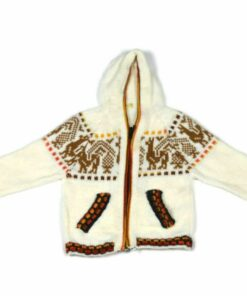 Alpaka Strickjacke Weiß 74