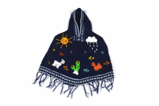 Kinderponcho Peru dunkelblau 98