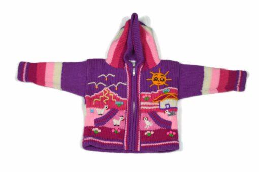 Kinderstrickjacke Violett 80 Modell 1