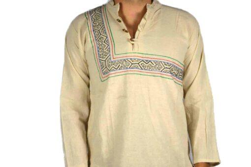 Shipibo Leinen Shirt Beige