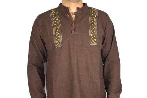 Shipibo Leinen Shirt Braun L