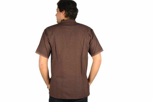 Shipibo Leinen Shirt Braun M