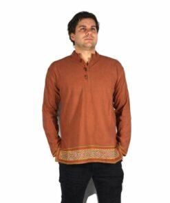 Shipibo Leinen Shirt Orange
