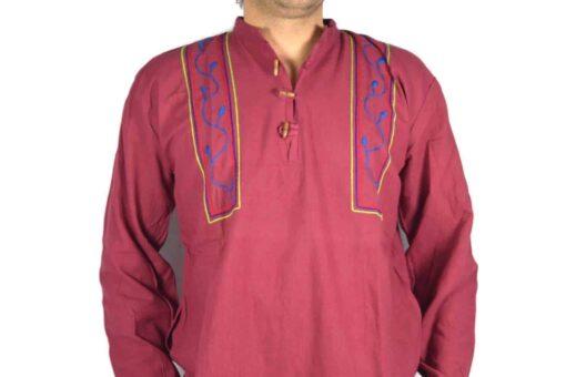 Shipibo Leinen Shirt Weinrot