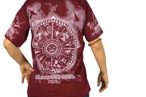Nasca Kalendar T-Shirt weinrot