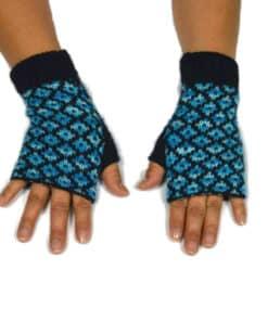 Alpaka Handschuhe Pünktchen Hellblau