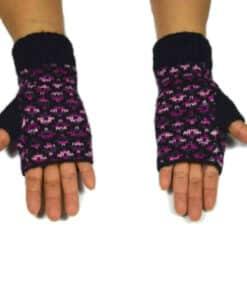 Alpaka Handschuhe Pünktchen Violett