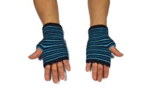 Alpaka Handschuhe Rayas Blau Modell 1