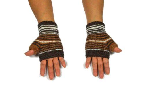 Alpaka Handschuhe Rayas Dunkelbraun Modell 1