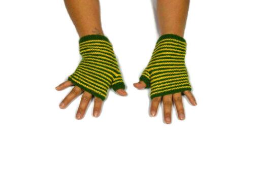 Alpaka Handschuhe Rayas Gelb Modell 1