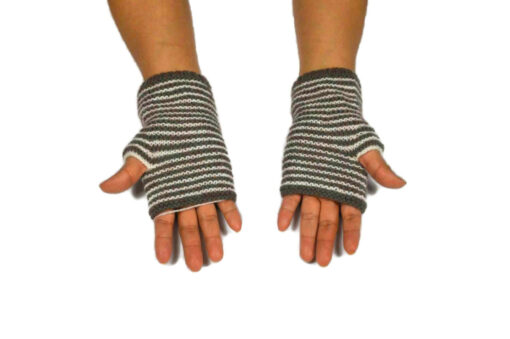 Alpaka Handschuhe Rayas Grau Modell 2
