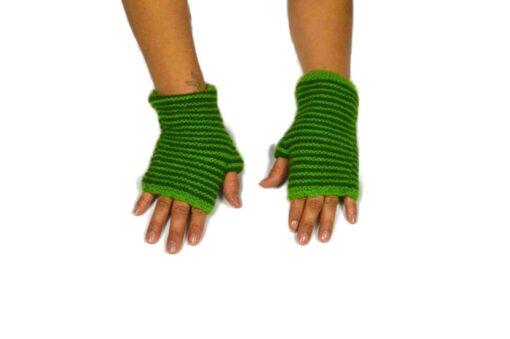 Alpaka Handschuhe Rayas Grün Modell 4