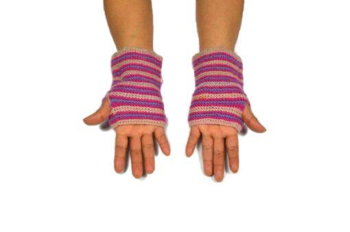Alpaka Handschuhe Rayas Rosa Modell 3