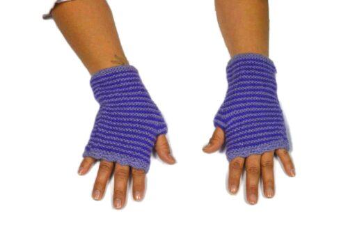 Alpaka Handschuhe Rayas Violett Modell 2