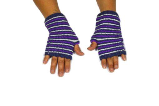 Alpaka Handschuhe Rayas Violett Modell 1