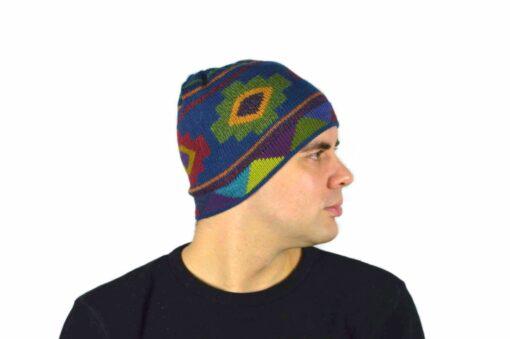 Alpaka Mützer Chakana dunkelblau