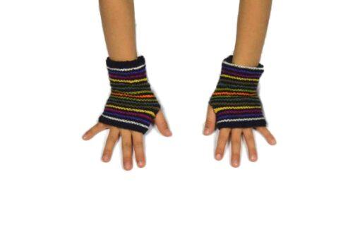 Alpaka Handschuhe Kinder Regenbogen Modell 1