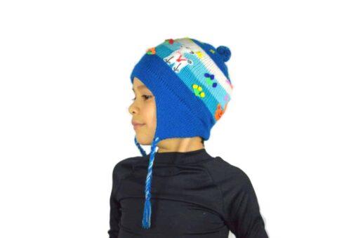 Bestickte Kindermütze blau