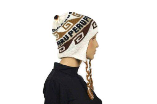 Alpaka Mütze Braun-Weiss Modell 1