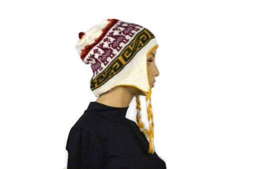 Alpaka Mütze Weiß-Gelb Modell 1