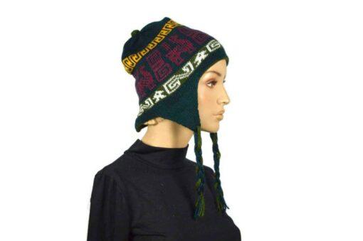 Alpaka Mütze Dunkelblau-Grün Modell 2