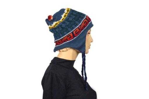 Alpaka Mütze Dunkelblau-Hellblau Modell 1