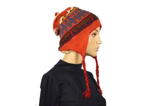 Alpaka Mütze Rot-Orange Modell 1