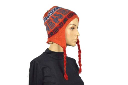 Alpaka Mütze Rot-Orange Modell 2