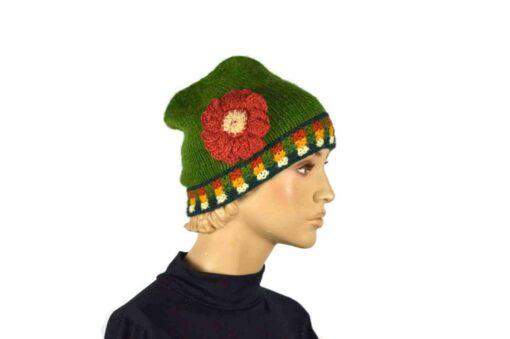 Alpaka Mütze Unu grün Modell 1