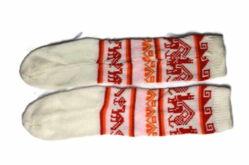 Bunten Alpaka Socken weiß