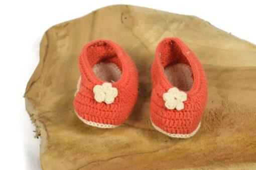 Babyschuhe aus Baumwolle orange