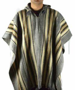 Poncho aus Schurwolle grau