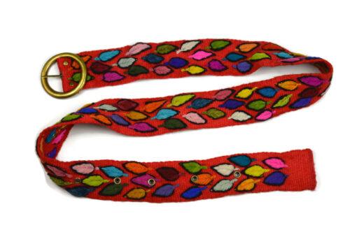 Bestickter Gürtel Blätter Rot 80-110cm